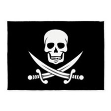 Skull and Swords Jolly Roger 5'x7'Area Rug