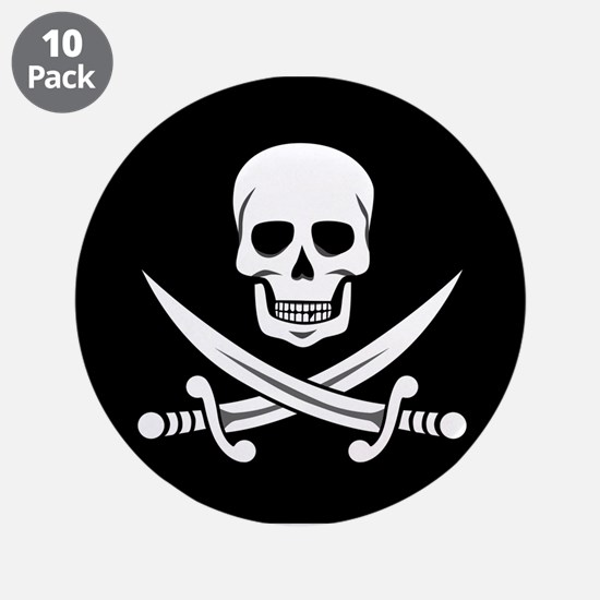 "Skull and Swords Jolly Roger 3.5"" Button (10 pack)"