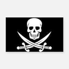 Skull and Swords Jolly Roger Rectangle Car Magnet