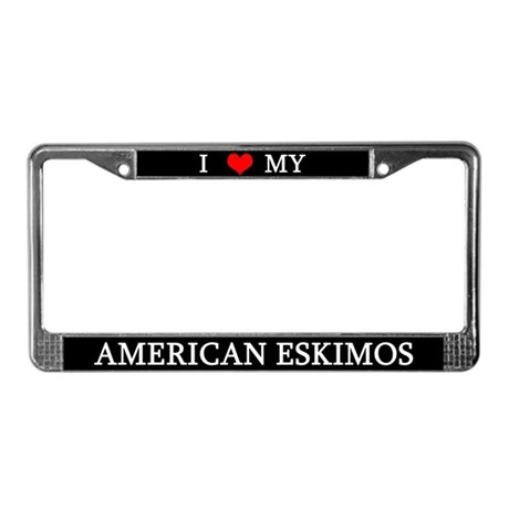 Love American Eskimos License Plate Frame