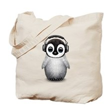 Baby Penguin Dj Wearing Headphones Tote Bag