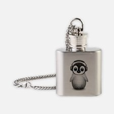 Baby Penguin Dj Wearing Headphones Flask Necklace