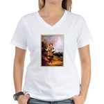 VINTAGE DOG ART Women's V-Neck T-Shirt