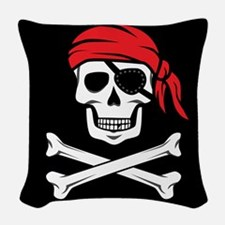 Pirate Skull and Crossbones Woven Throw Pillow