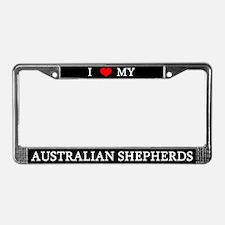 Love Australian Shepherds License Plate Frame