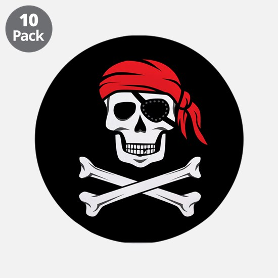 "Pirate Skull and Crossbones 3.5"" Button (10 pack)"