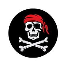 """Pirate Skull and Crossbones 3.5"""" Button"""