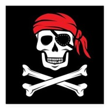 """Pirate Skull and Crossbo Square Car Magnet 3"""" x 3"""""""