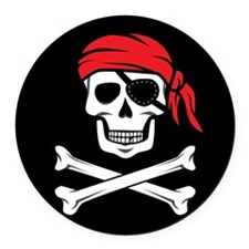 Pirate Skull and Crossbones Round Car Magnet