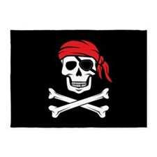Pirate Skull and Crossbones 5'x7'Area Rug