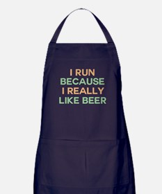 I run because I really like beer Apron (dark)