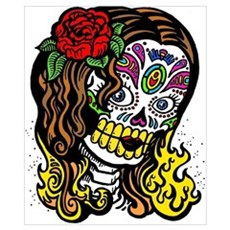 Colourful Skull Girl Poster