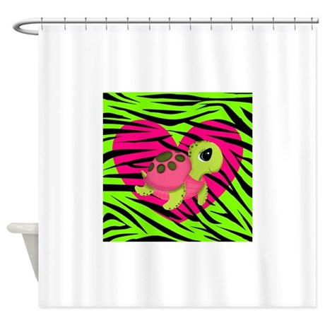 Sea Turtle Pink Green Zebra Shower Curtain By Ras7