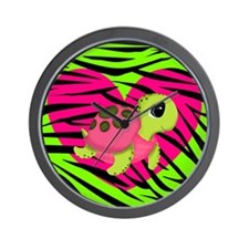 Sea Turtle Pink Green Zebra Wall Clock