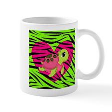 Sea Turtle Pink Green Zebra Mugs