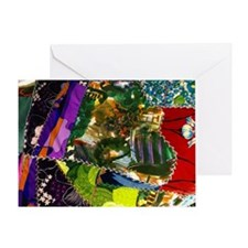 Colorful patchwork fabric Greeting Card