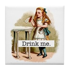 Drink Me Alice in Wonderland Tile Coaster