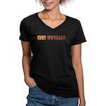 City Dweller Women's V-Neck Dark T-Shirt