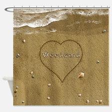 Woodward Beach Love Shower Curtain
