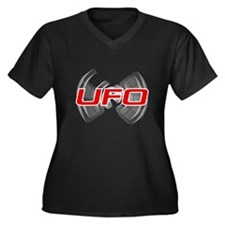Flapping UFO Design Women's Plus Size V-Neck Dark