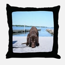 Chocolate Lab Puppy Throw Pillow