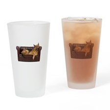 GERMAN SHEPHERD ON COUCH Drinking Glass