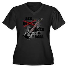 Sex and Rock Women's Plus Size V-Neck Dark T-Shirt