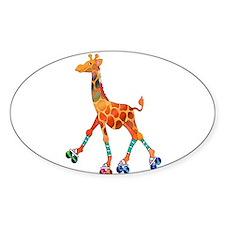 Roller Skating Giraffe Decal