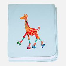 Roller Skating Giraffe baby blanket