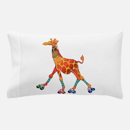 Roller Skating Giraffe Pillow Case