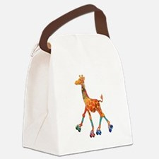 Roller Skating Giraffe Canvas Lunch Bag
