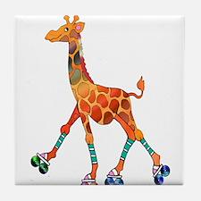 Roller Skating Giraffe Tile Coaster