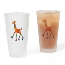 Roller Skating Giraffe Drinking Glass