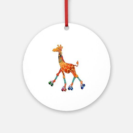 Roller Skating Giraffe Ornament (Round)