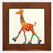 Roller Skating Giraffe Framed Tile
