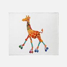 Roller Skating Giraffe Throw Blanket