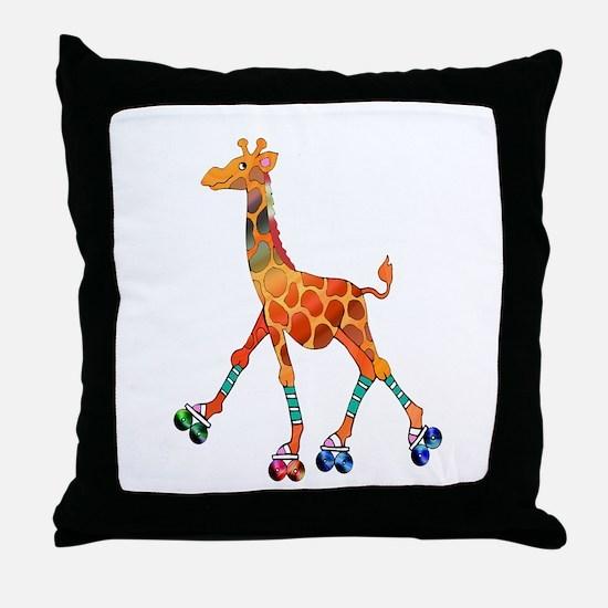 Roller Skating Giraffe Throw Pillow