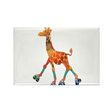 Roller Skating Giraffe Magnets