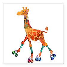 "Roller Skating Giraffe Square Car Magnet 3"" x 3"""