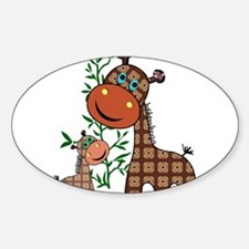 Momma and Baby Giraffe with Tree Decal