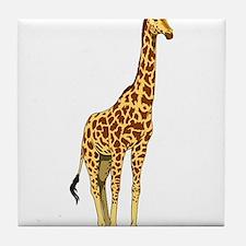 Very Tall Giraffe Illustration Tile Coaster