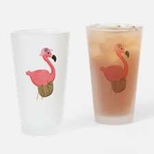 Pink Flamingo Lady Drinking Glass