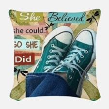 So She Did Woven Throw Pillow