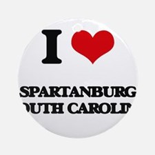 I love Spartanburg South Carolina Ornament (Round)