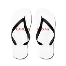 Cancer can kiss my ass-Opt red 550 Flip Flops
