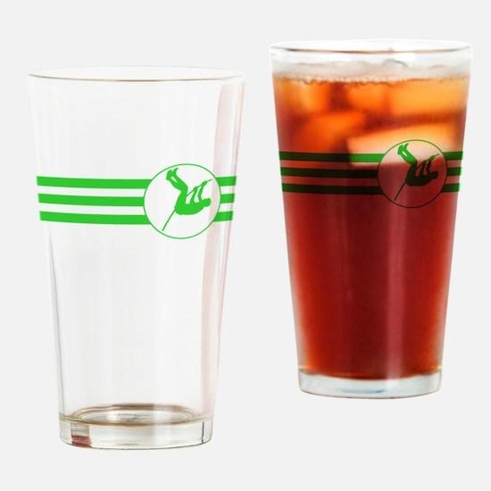 Pole Vaulter Stripes (Green) Drinking Glass