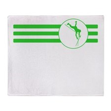 Pole Vaulter Stripes (Green) Throw Blanket