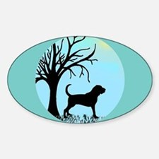Tree & Bloodhound Dog Oval Decal