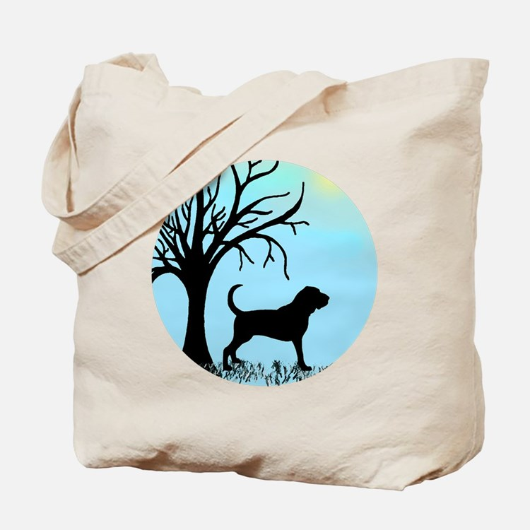 Tree & Bloodhound Dog Tote Bag