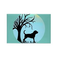 Tree & Bloodhound Dog Rectangle Magnet